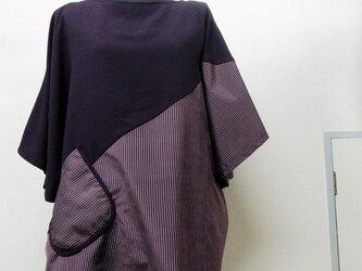 着物リメイク◇丹後縮緬◇大島紬◇チュニック◇紫の画像