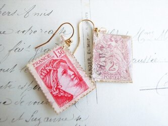 Vintage切手のイヤリング/ピアス(フランスの画像