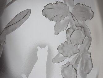 カトレアとネコのガラスのお皿の画像