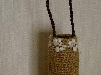 編みぐるみビン「kurumu」麻ひも+レース+三編み革ハンドルcの画像