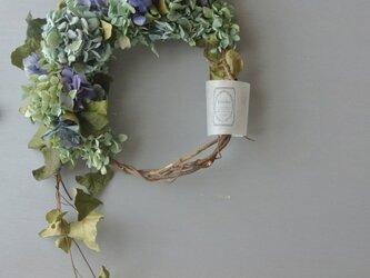 紫陽花とヘデラのwreth . blueの画像