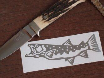 切り絵ステッカー イワナ(シルバー)の画像