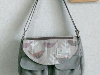 立体ポケット付きA4ショルダーバッグ☆帆布☆モカの画像