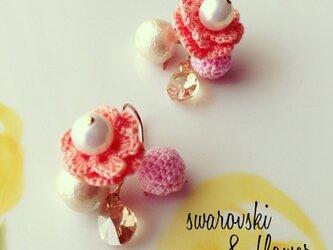 雫のスワロフスキー お花のピアス〜pink〜の画像