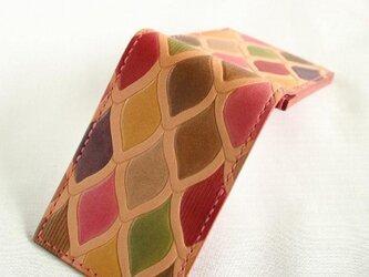 手染め手縫い革の名刺入れ うろこピンクの画像