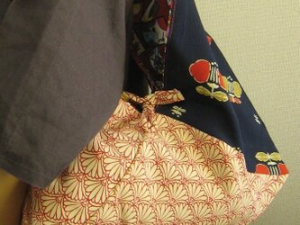 ショルダーバッグ+あずま袋+リバーシブル=古布&花&花札柄の画像
