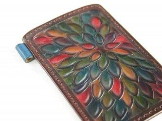 手染め手縫い革のパスケース 花の画像