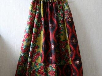 絹 黄色 椿と目玉のパッチワークゴムスカート Fサイズ の画像