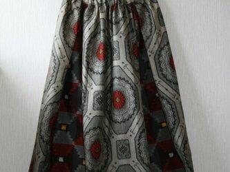 絹 灰色 蜀江模様と格子のパッチワークゴムスカート Fサイズ の画像