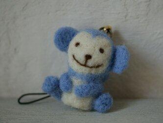 羊毛フェルトのおサルのストラップ(水色)の画像