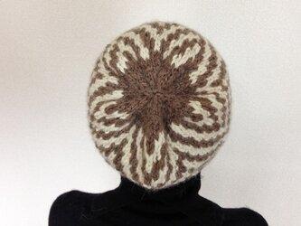 アルパカの幾何学模様ニット帽 Aの画像