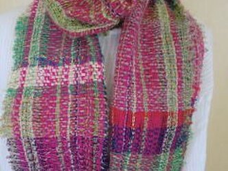 《手織り》薄手コットンウールマフラー ピンク系の画像