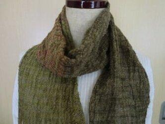 《手織り》麻のマフラー 渋めのオリーブ系の画像