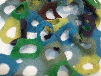 羊毛ハンドメイドフェルト ショートストールの画像