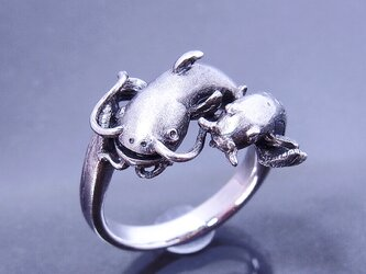ナマズとドジョウのリング/シルバーリング/silver925の画像