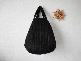 刺し子のドットバッグ <黒色ワントーン>の画像