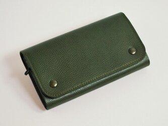 【受注製作】財布 wrap-L [グリーン]の画像