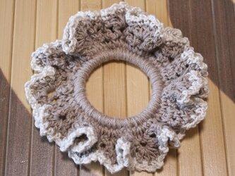 リネンの手編みシュシュの画像
