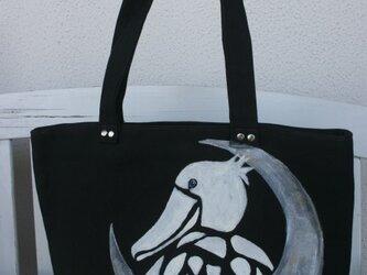スクエアトートバッグ 三日月とハシビロコウの画像