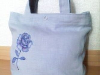 ロング缶3バッグ(バラ柄 リネン水色)の画像