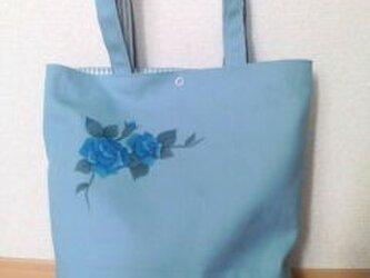 大瓶3バッグ (バラ柄 帆布水色)の画像