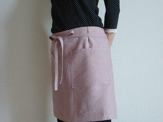 ☆リネン:丈41cm グレイッシュピンクのカフェエプロン☆の画像