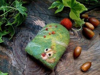 羊毛フェルト キーケース りすと木の実【受注制作】の画像