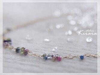 サファイア K14GF ネックレス(マルチカラー)の画像