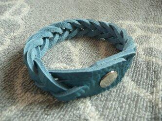 トリヨン5連編み革ブレスレット(ブルージーン)の画像