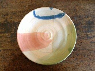さんしょく釉とリングの大皿(壁掛け可)の画像