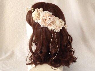 <受注制作>染め花のガーランドと髪飾りのセット(ベージュホワイト)の画像