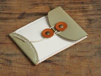 玉留めカードケース (ターコイズ/ホワイト)の画像