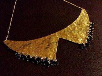 真鍮とオニキスのつけ襟ネックレスの画像