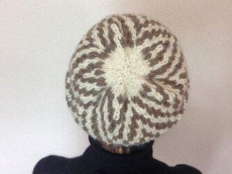 アルパカの幾何学模様ニット帽 Bの画像