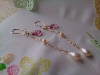 淡水真珠とピンクトパーズの3wayピアス【14kgf】の画像