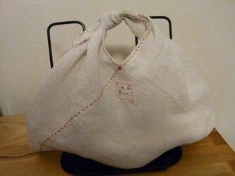 あずま袋 その1 Sサイズ リネン 赤のステッチの画像