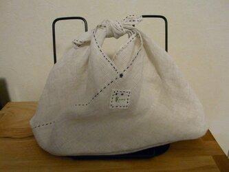 あずま袋 その2 Sサイズ リネン 紺のステッチの画像