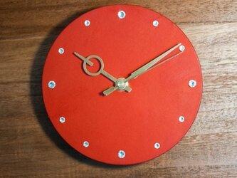 革のまるい時計 (レッド)【Sサイズ】の画像