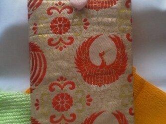 帯地で作った小物袋(つる うすもも)の画像