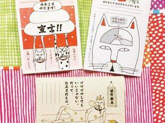 猫の年賀状  3枚入りアソートセットの画像