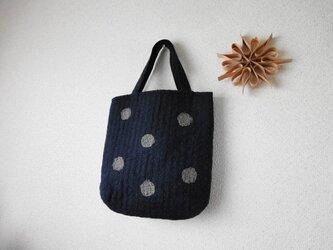 刺し子のドットバッグ・ミニ<濃紺地×藍ステッチ×グレードット>の画像