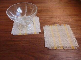 リネンのコースター・イエローストライプの画像