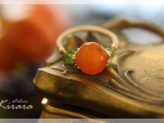 【受注制作】大粒宝石質 オレンジカーネリアンK14GF リング の画像