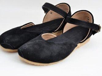 Tokuyama Shoes『plie sandals』black suede leatherの画像