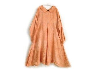 春色のふんわりAラインのガーゼワンピース/べんがら染め 鉄朱/医療用ガーゼ服の画像