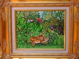 【展示品】刺繍絵画:ルソーのライオンの画像