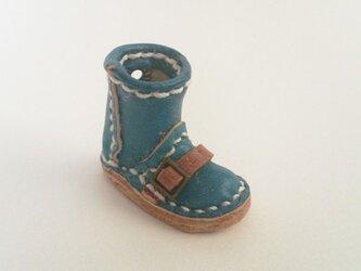 手縫いのミニチュアロングブーツ(ブルー)の画像
