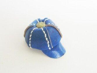 手縫いのミニチュアキャスケット(ブルー)の画像