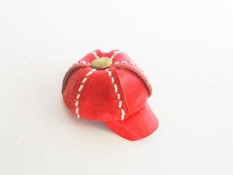 手縫いのミニチュアキャスケット(レッド)の画像