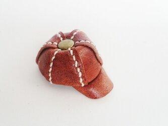 手縫いのミニチュアキャスケット(ブラウン)の画像